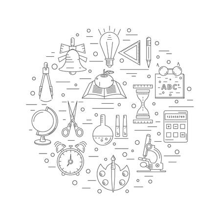 learning process: School linear icons arranged in a circle. The items include a learning process in an educational institution.