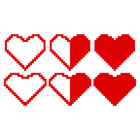 Red hearts made of pixels on white background
