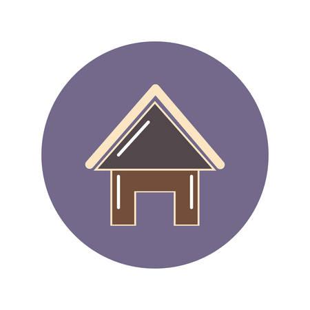 roofed house flat icon, illustration on white background