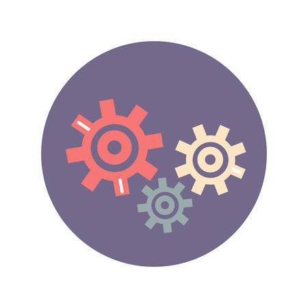 gear setting icon flat, illustration on white background