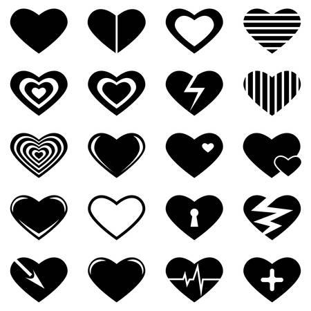 set of black hearts on white background