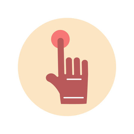 finger presses the button, flat icon on white background