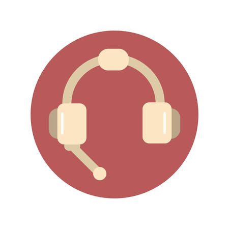 headphones with microphone icon flat on white background 向量圖像