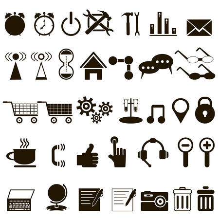 set of black icons about the Internet on white background
