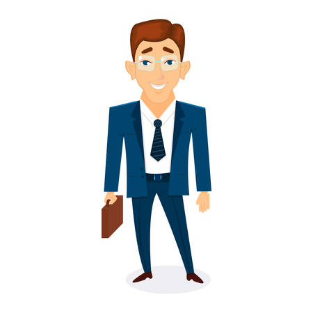 character businessman with briefcase in hand, is worth and smiling on white background 向量圖像