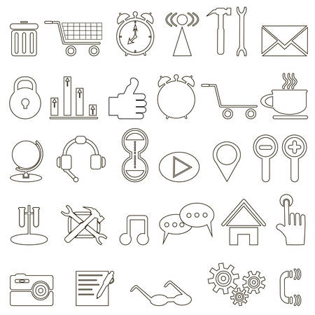 diminutive: set of linear icons about the Internet on white background