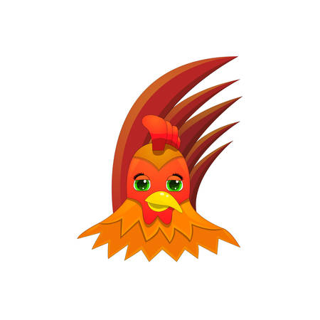 fiery red cock, symbol of new 2017 向量圖像