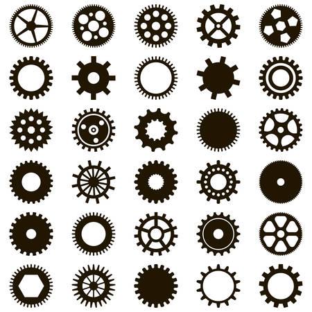 Set of 30 simple black gears on white background 向量圖像