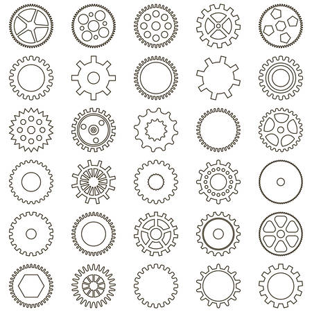 Set of gears in the form of of simple icons linear on white background