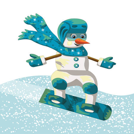 Snowman rolling on a snowboard in the snow