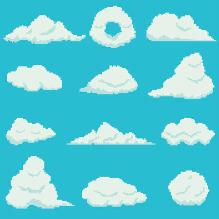 Set of 12 pixel clouds on blue background