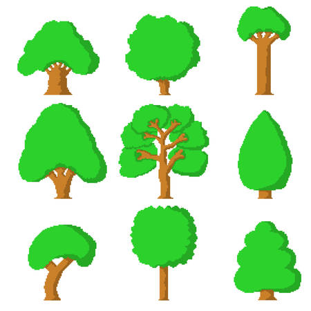 Set of 9 simple pixel trees on white background 向量圖像