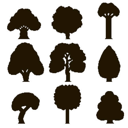Set of 9 black silhouettes of pixel trees on white background