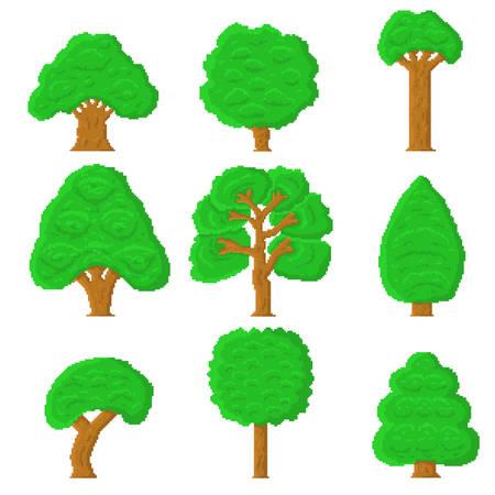 Set of 9 pixel trees