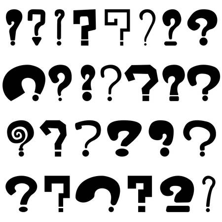 Set of black question marks on white background