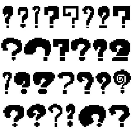 Set of pixel questions of black color on white background