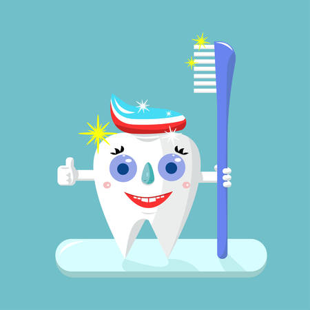 Happy tooth, the character holds a toothbrush on turquoise background