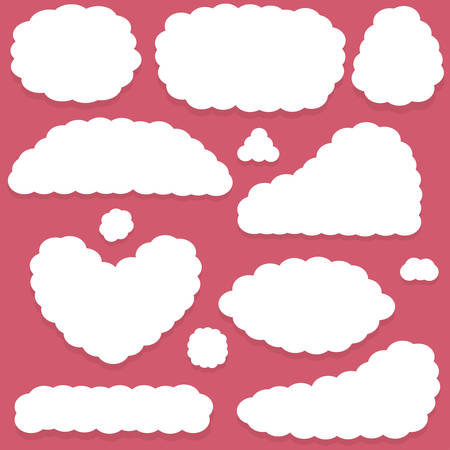 White fluffy clouds on a pink background