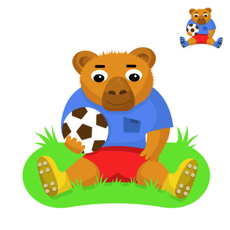 Bear football player with the ball sitting on the green grass Vector illustration.