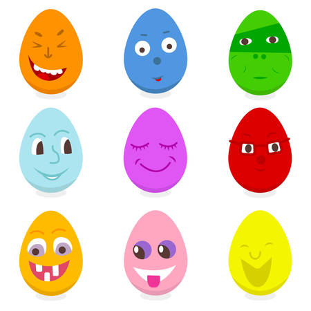 set of eggs funny characters for easter on white background 向量圖像