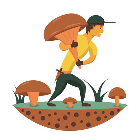 mushroomer with a large mushroom walking along the glade