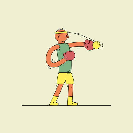 man boxing with a ball on an elastic band on a light background