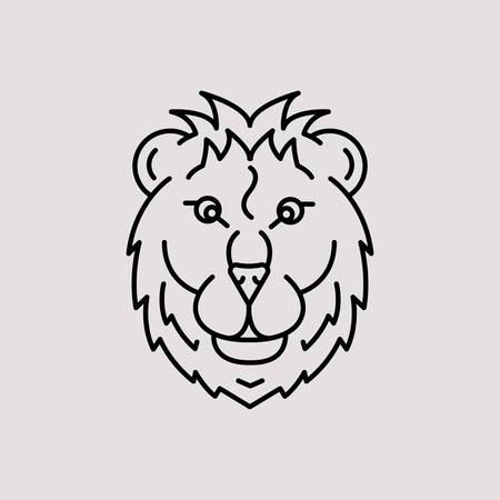 Lion head logo, symbol on grey background