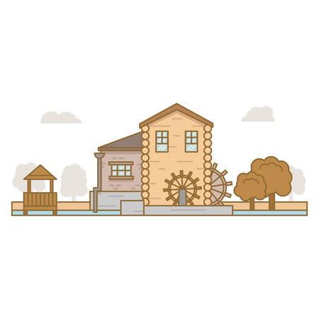 water mill surrounded by trees and pergola on white background Illustration