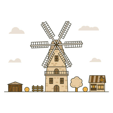 the wind mill is surrounded by buildings and a tree and a fence on white background