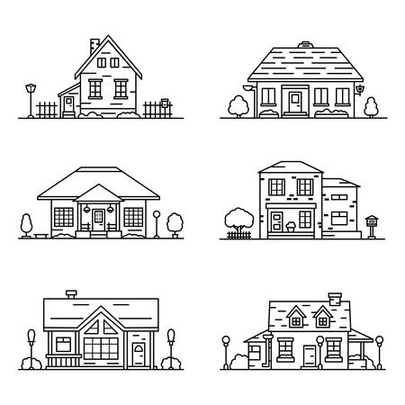 set of 6 houses in linear style on white background