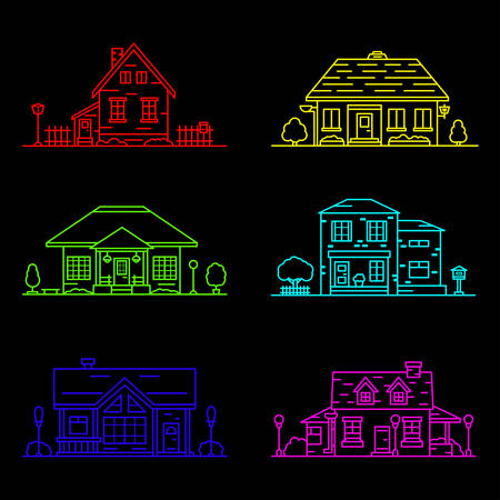 set of 6 colored houses in linear style on black background