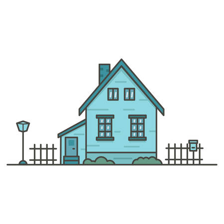 turquoise house surrounded by fences on white background