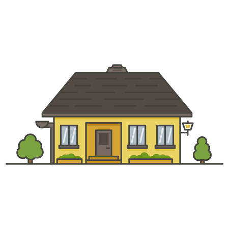 yellow house with a brown roof on white background