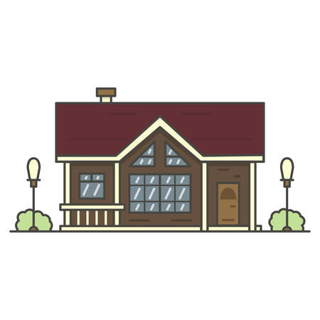 brown house surrounded by two lanterns on white background