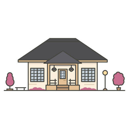 house surrounded by two pink trees on white background