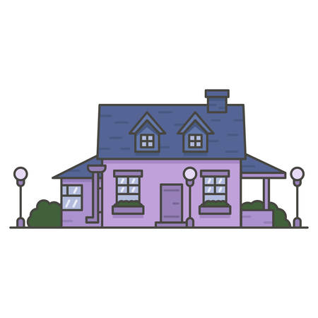 purple house with a blue roof on white background 向量圖像