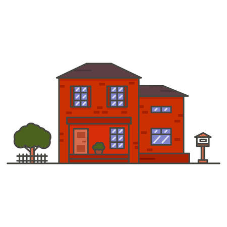 red two-storey brick house on white background 向量圖像