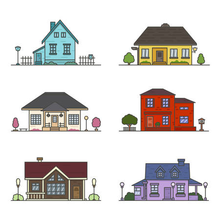 set of 6 colored houses on white background
