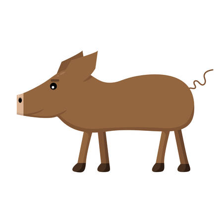 cute brown pig on white background 向量圖像