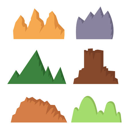 set of 6 flat simple mountains on white background 向量圖像