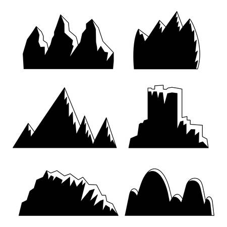 set of 6 black mountains with snowy peaks on white background Banco de Imagens - 126828202