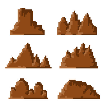 set of simple brown pixel mountains on white background 向量圖像