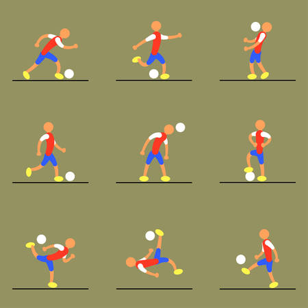 set of 9 simple soccer players moving with the ball and banging the ball