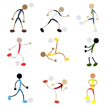 simple men soccer players with the ball on white background