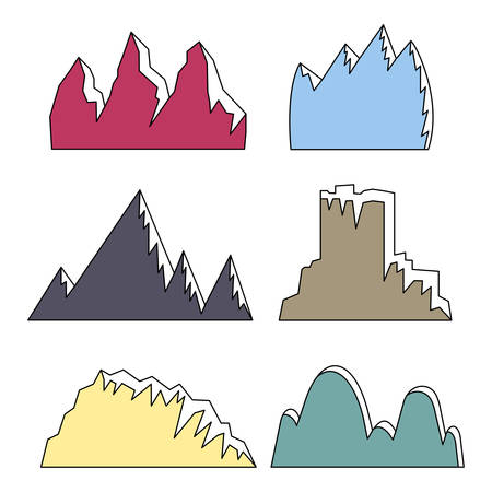 set of 6 colored mountains with snowy peaks on white background