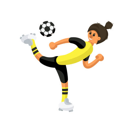 football player in yellow and black uniform hits the ball, scorpion kick in football, on white background
