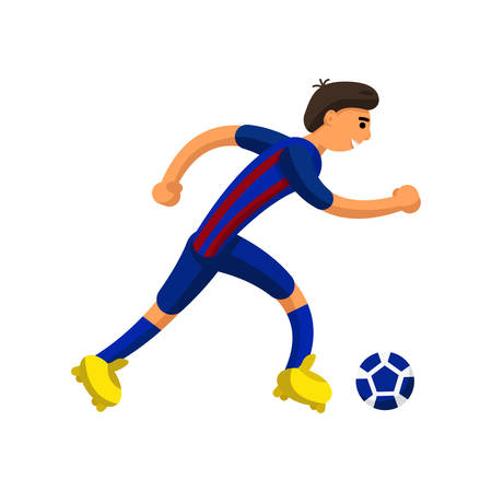 football player runs with the ball on white background 向量圖像