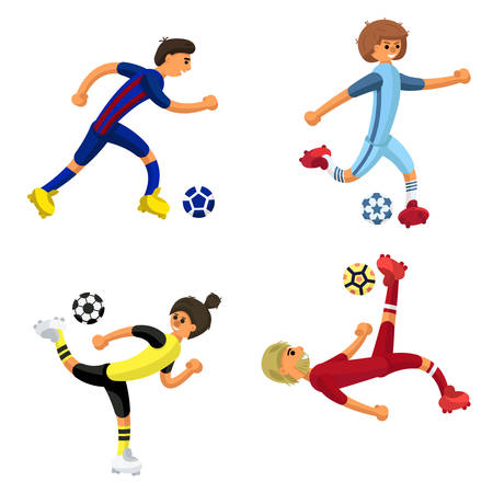 set of four soccer players with a ball on white background