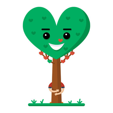man hugging a green tree in the shape of a heart on white background
