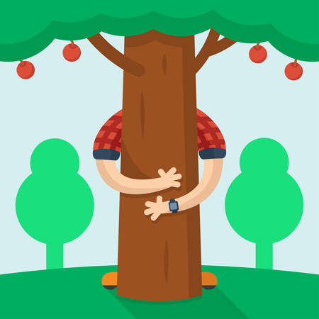 man hugs a tree with apples on the background of other trees